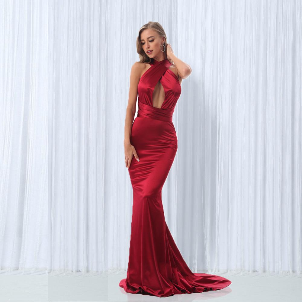 2019 Sexy Mermaid Satin Dresses Floor Length Evening Party Dress Hollow Out Diy Straps Bodycon Backless Evening Gown Dress Y190507