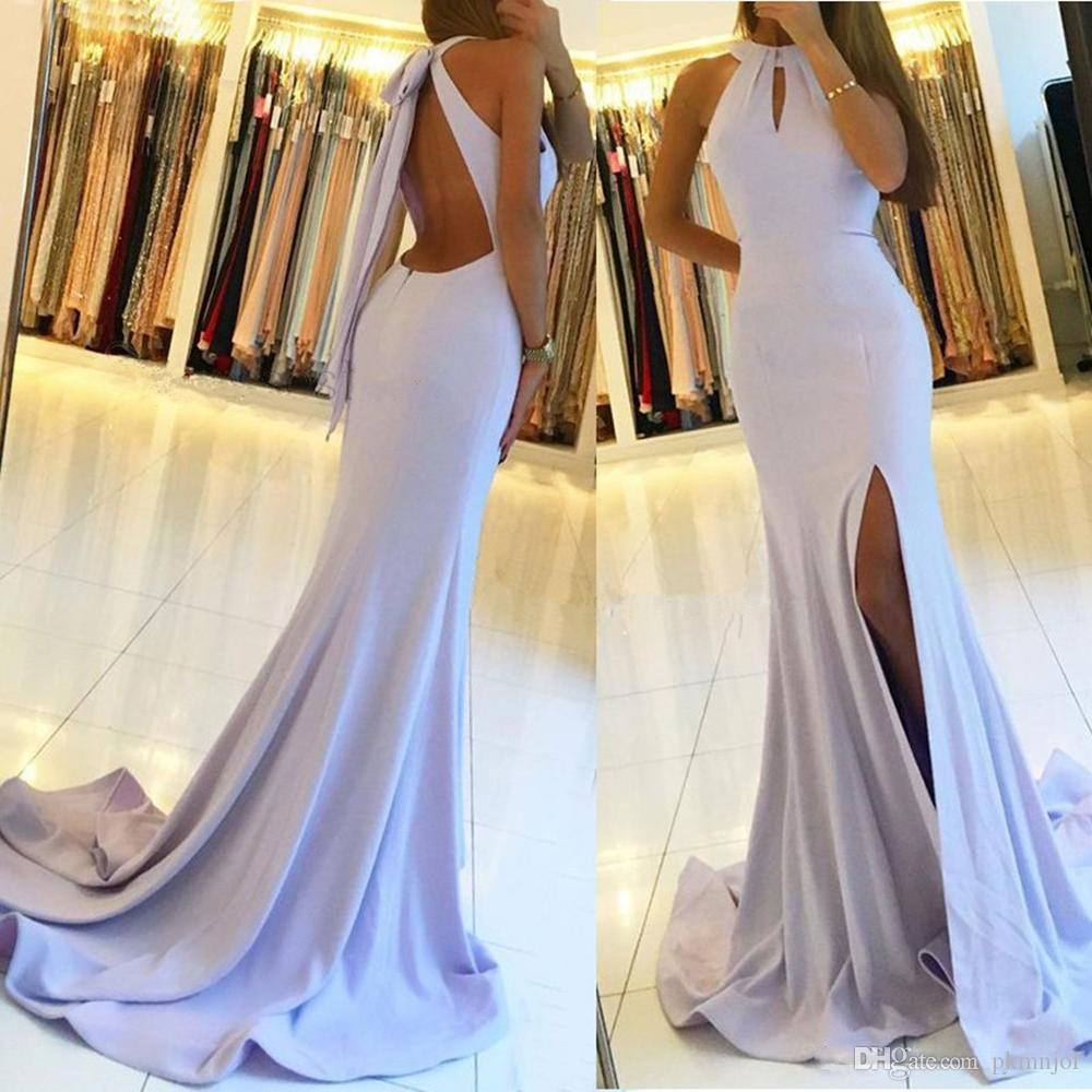 2019 Mermaid Evening Dress Halter Neck Sleeveless Sexy Split Sweep Train per Matrimoni da sera Abiti da ballo di promenade usura