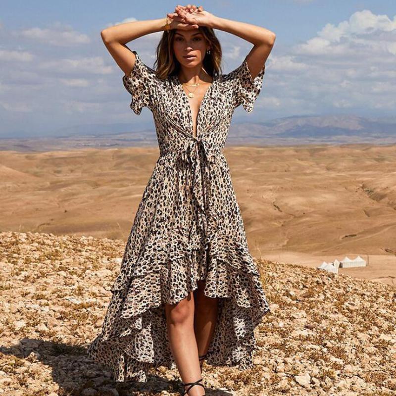 468ad99f48 Compre Mujeres Sexy Moda Vestidos De Leopardo Profundo V Cuello Casual  Vacaciones De Verano Playa Vendaje Asimétrico Vestido De Gasa Vestidos A   29.75 Del ...