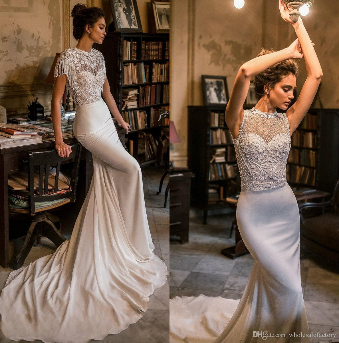 2019 Julie Vino Mermaid Wedding Dresses Jewel Neck Hollow Back Lace Satin Beading Beaded Tassel Court Train Wedding Bridal Gowns