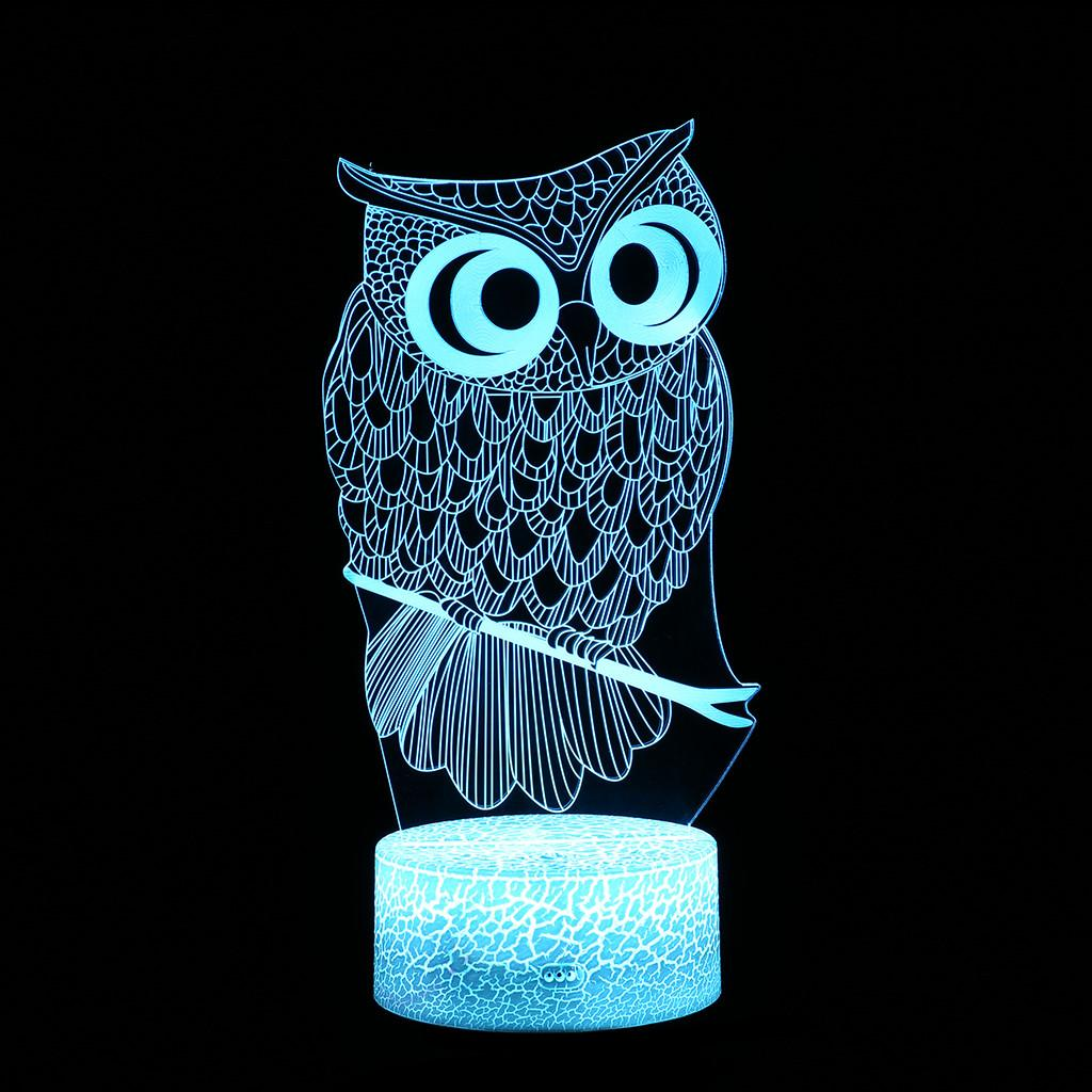 680f06b20 2019 LED 3D Owl Illuminated Lamp Home Bedroom Optical Illusion Desk Night  Light With Changing Night Light Kids Gift Lamp From Grege
