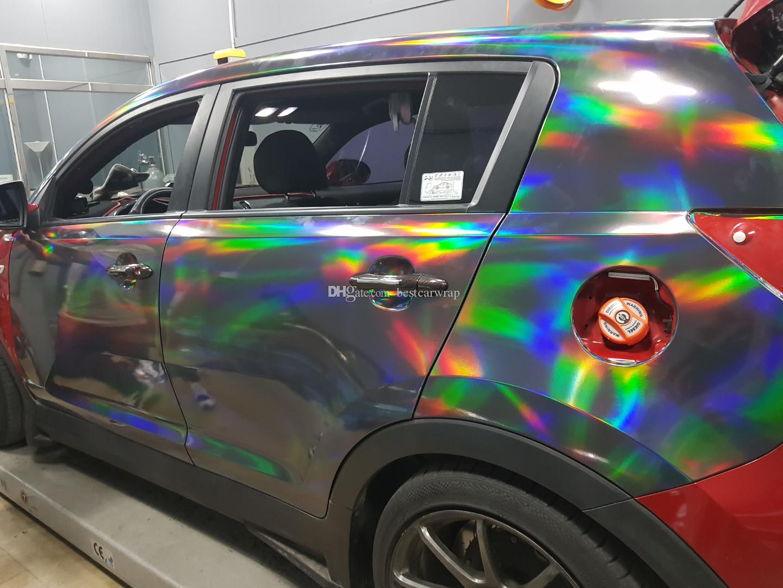 2019 Holographic Chrome Black Vinyl Film For Car Wrap With Air