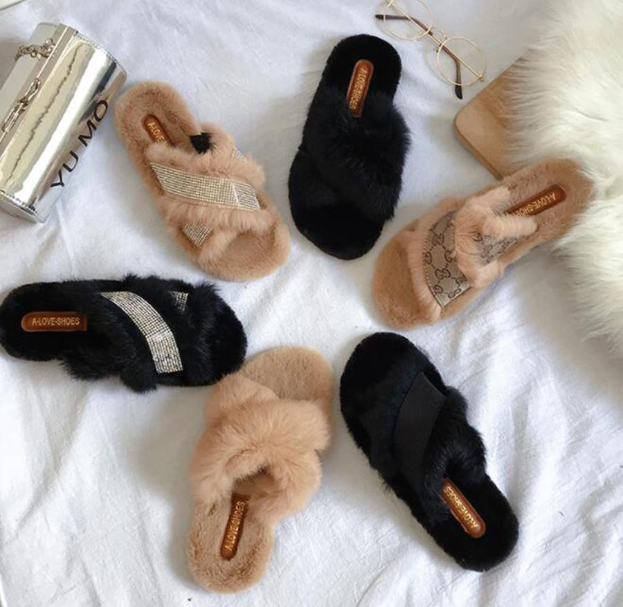 17db14be04166 Wool Slippers Women s Autumn and Winter New Out Wearing Cross Belt Flat  Bottom Fashion Wild Slippers to Keep Warm Indoor Shoes