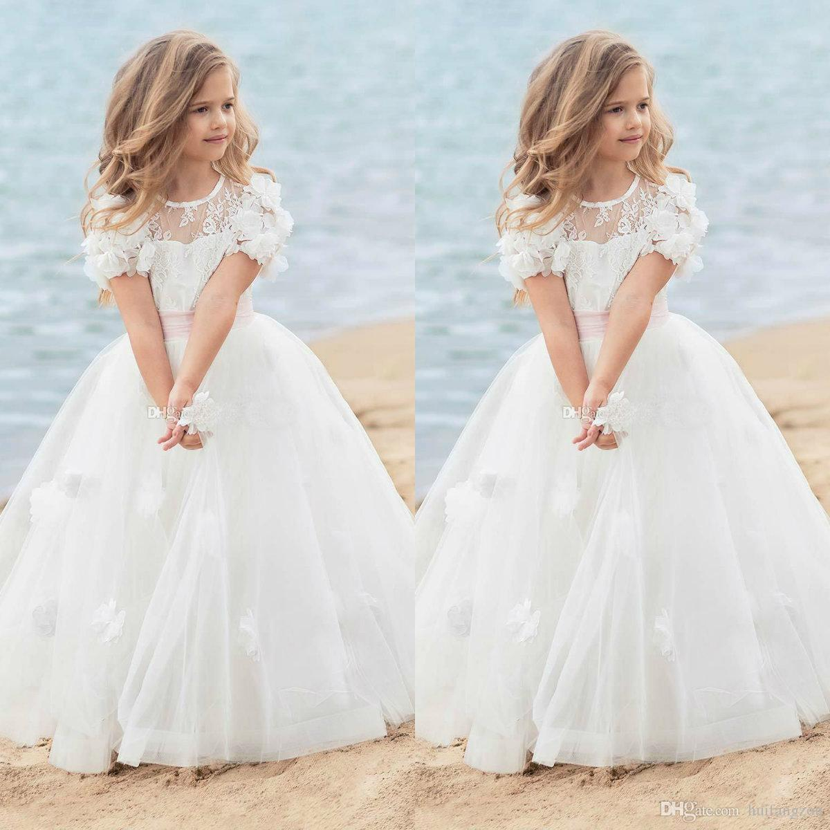 eb72a61d2 2019 Cute Flower Girl Dresses For Wedding Lace Short Sleeves Appliqued  Floor Length First Communion Dress Cheap Girls Pageant Dress Peach Flower  Girl ...