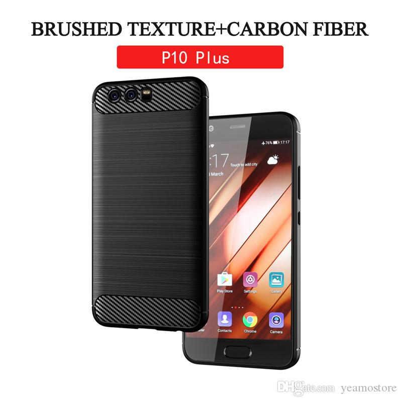 TPU Carbon Fiber Texture Case for Huawei P10 lite P10 plus Y3 Y5 Y6 2017 Brushed TPU Silicone Phone Case
