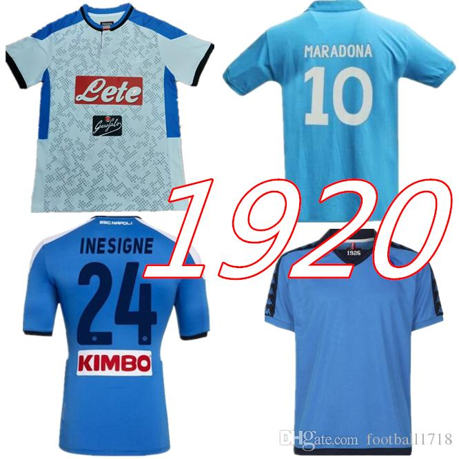 2019 2020 napoli Retro Fußball Trikot blau klassische Trikots Maradona 1987 1988 Naples ZIELINSKI HAMSIK INSIGNE Retro Fußball Trikots Größe S XXL