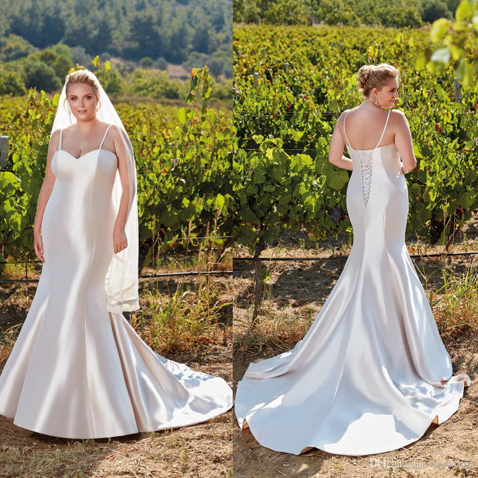 a3a62bc4bcd7 Eddy K Plus Size Mermaid Wedding Dresses Spaghetti Satin Sweep Train  Country Glossy Bridal Gowns Beach Robe De Mariée Red And White Wedding  Dresses Sheath ...