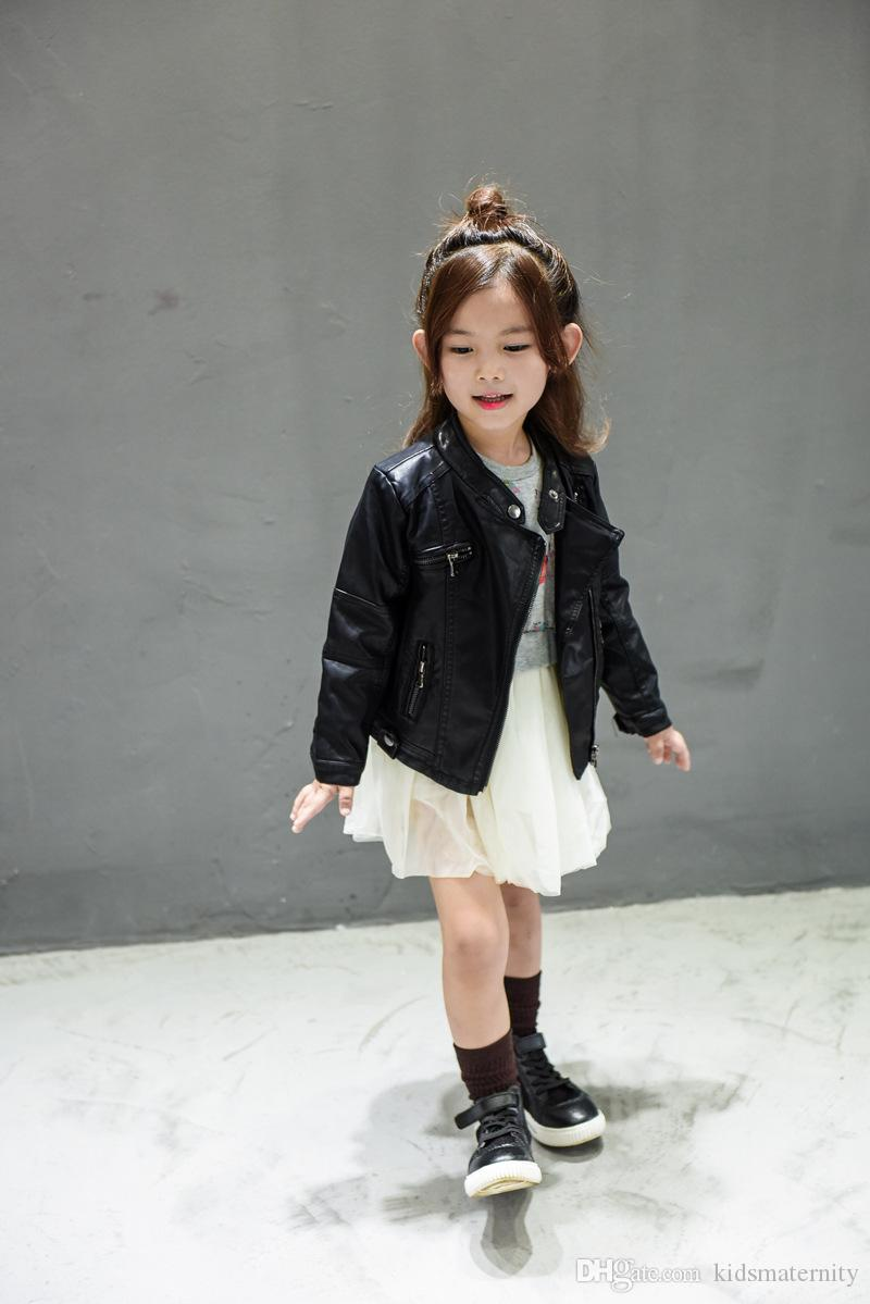 fb1df7a5fb06 New Baby Girls Clothes Long Sleeve Kids Jacket Fashion PU Leather ...