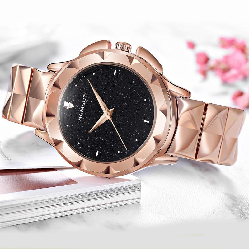 Hemsut New Fashion Stainless Steel Women Watches  Top  Japan Movt Quartz 3ATM Waterproof Rose Gold Ladies Wrist watch