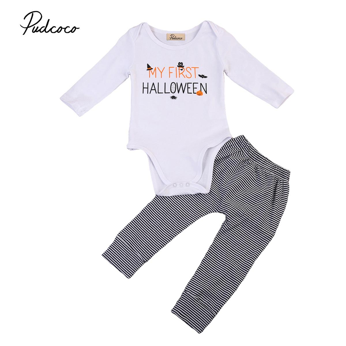 0-24M Halloween Pumpkin Baby clothing 2019 Newborn Baby Boy Girl Tops Romper+Pants 2pcs Outfits Set