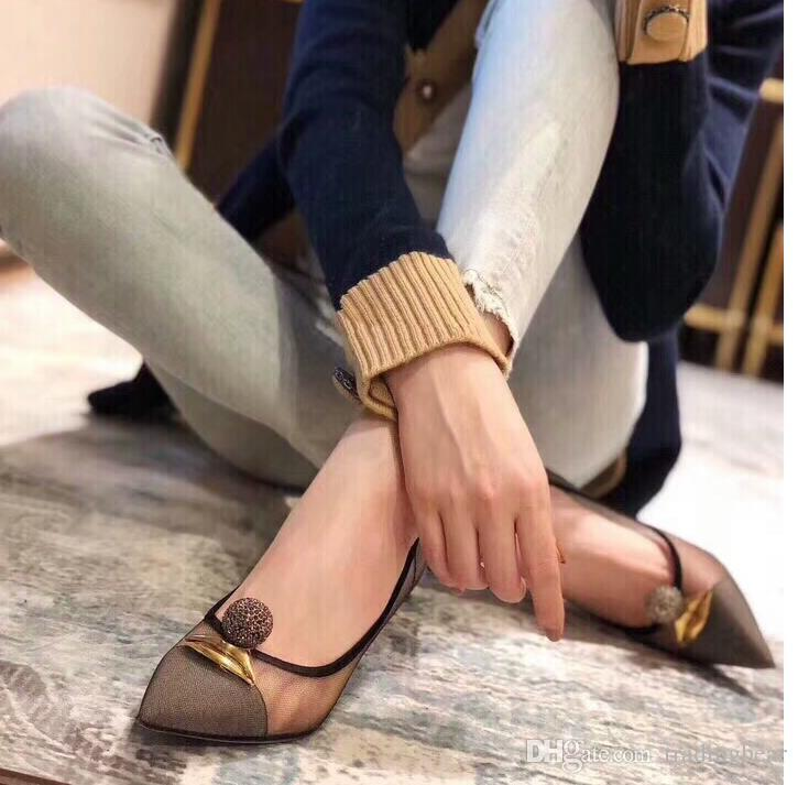 with box sexy breathable black meshy decorated pointed shoes fashion luxury designer women shoes sandals 6.5CM Size 34 to 40 tradingbear