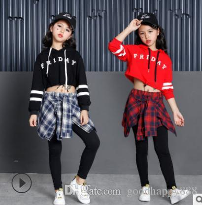 f89c4188287bf3 2019 Girls Two Piece Set Long Sleeve Children Crop Tops And Plaid Skirt  Pant Kids Hip Hop Dance Clothes Girls Children Spring Cloths From  Goodhappy888