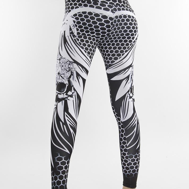 42073e520eb23 2019 2019 New Honeycomb Skeleton Head Printing Leggings Push Up Elastic High  Waist Trousers Ropa De Deporte Mujer Ez* From Lookpack, $34.6 | DHgate.Com