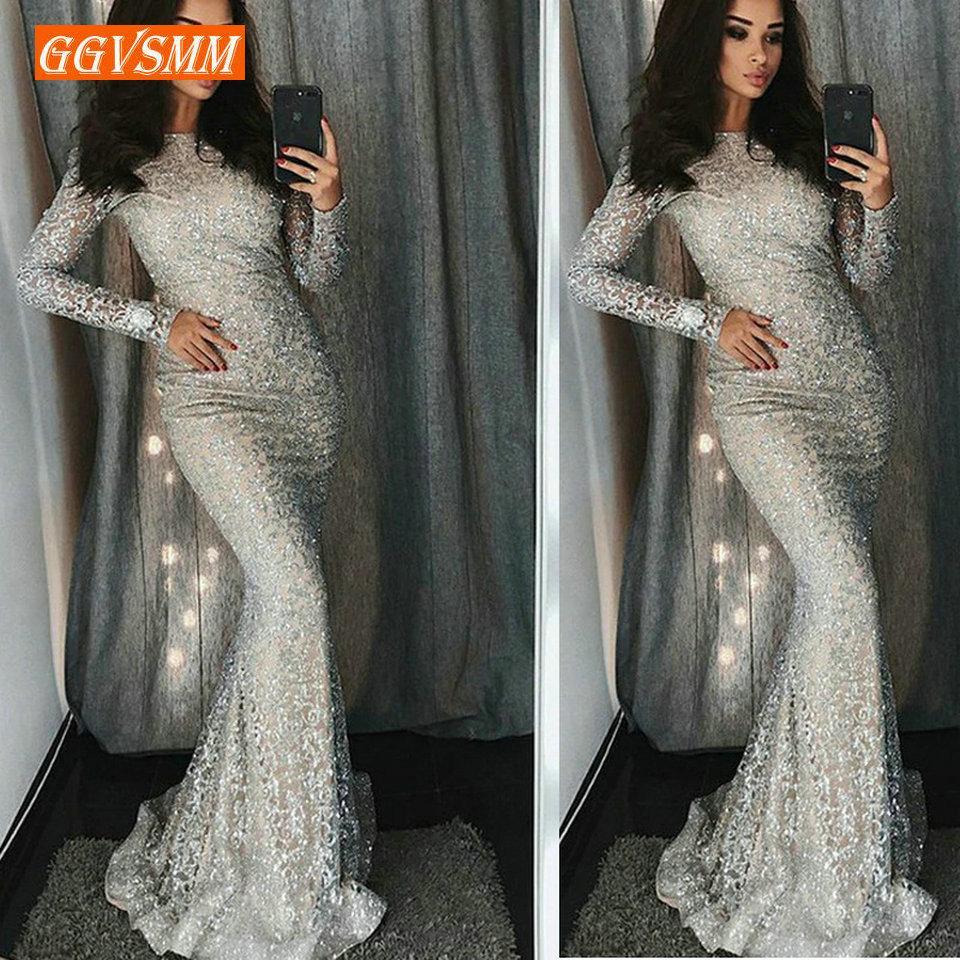 864e6e137f13 Fashion Lace Mermaid Long Evening Dresses Women Party 2019 Sexy Evening  Gowns High Neck Zipper Lady Glitter Bodycon Club Evening Dress Maxi Evening  Dress ...