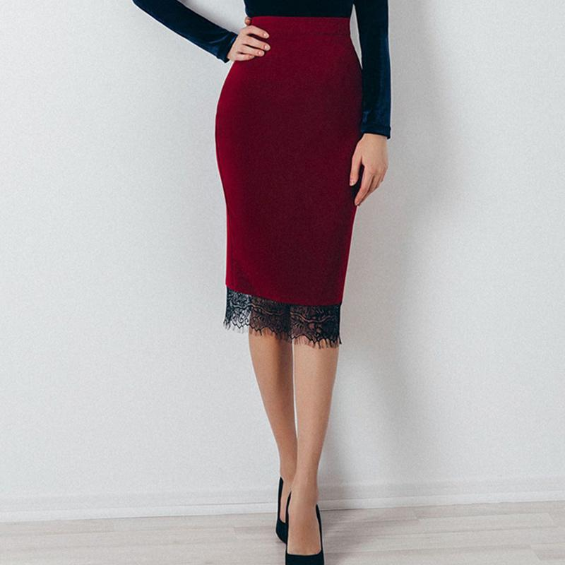 san francisco e6ba4 02973 Gonna longuette di pizzo elegante vita alta rosso vino 2018 Gonna stretta  di moda autunno fashion minigonna epoca aderente OL