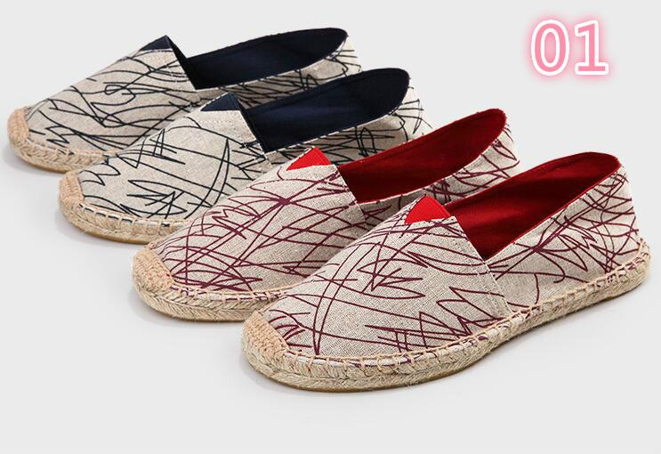 Wholesale straw hemp bottom shoes spring/summer new lovers breathable  canvas shoes lazy fisherman hemp rope shoes 3A 001