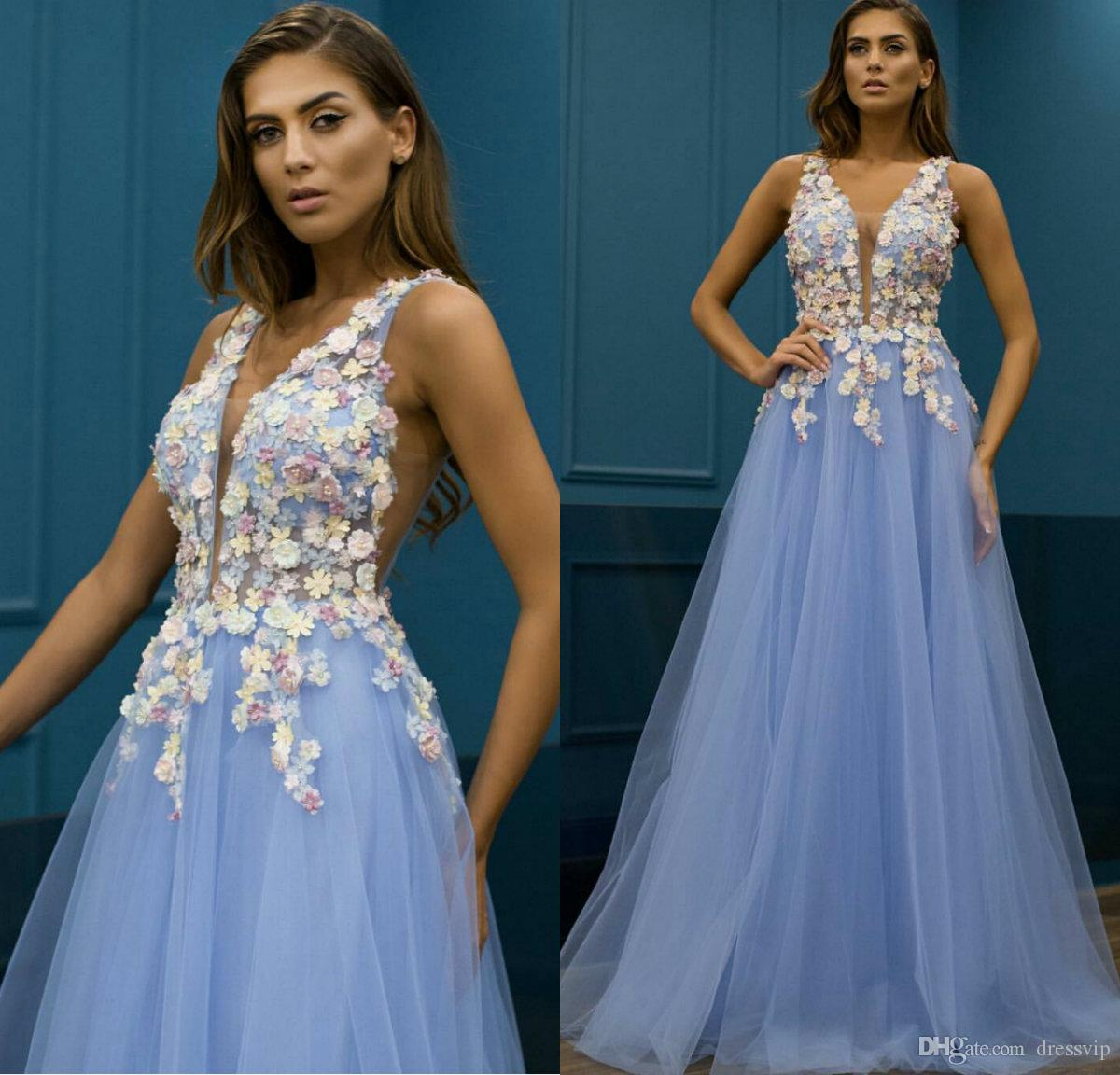f22f8418007f 2019 Light Blue A Line Prom Dresses V Neck 3D Floral Appliqued Floor Length  Cheap Evening Gowns Custom Made Formal Party Dress Guest Prom Short Dresses  ...