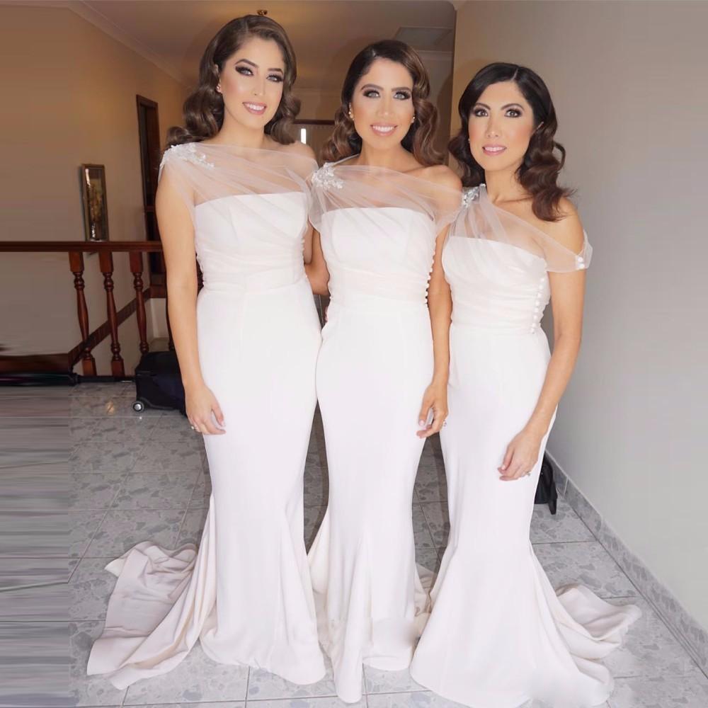 5da2be1dca2 New Arrival 2019 Cheap Appliques Long Satin Bridesmaid Dress Mermaid Strapless  Wedding Party Dress Sweep Train Formal Gowns Burnt Orange Bridesmaid Dress  ...