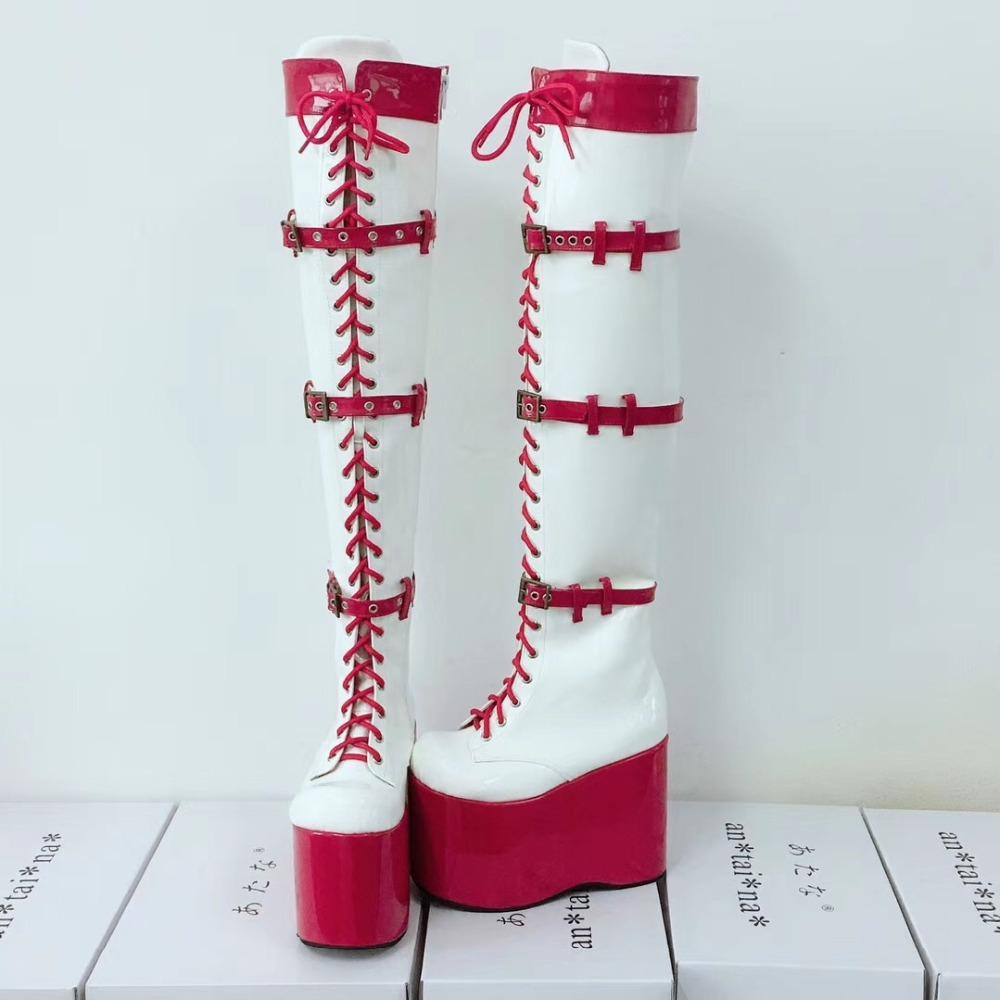 a20b0a26c97 Sexy Women Over-The-Knee 13cm High Platform Party Lace-Up Lolita Boots Side  Zip Pole Dancing PU Leather Lolita Show Boots