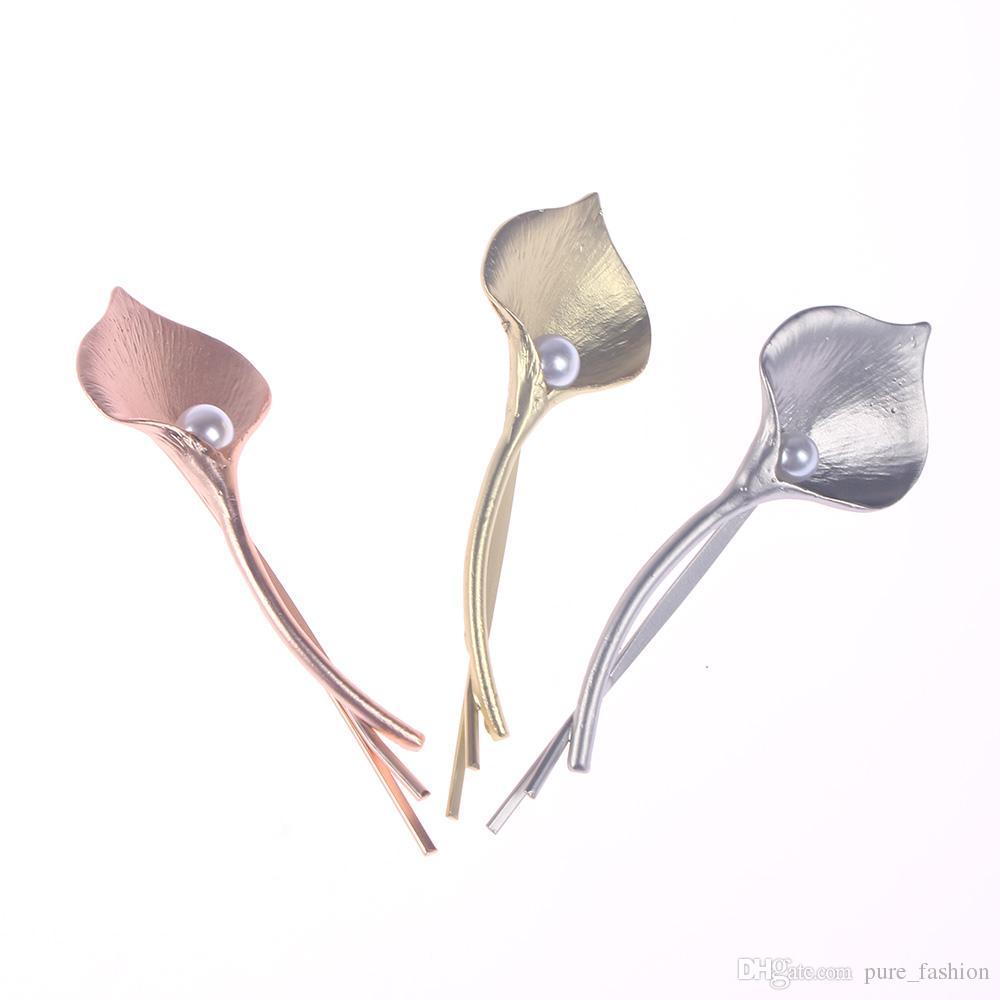 6df345d459070 Fashion Wedding Hair Jewelry Flower Barrettes Solid Metal Leaf Pearl ...