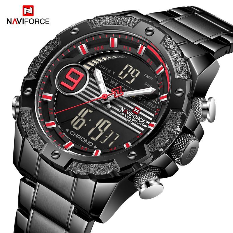 6becb702af7 Compre NAVIFORCE Homens Marca De Luxo Relógios Desportivos Mens Digital De  Quartzo Relógio De Aço Completo À Prova D  Água Relógio De Pulso Relogio ...