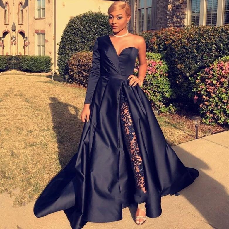 21d73575f5e Elegant One Shoulder Long Sleeve Prom Dresses A Line Navy Blue Front Split  Evening Party Gowns Jumpsuit Celebrity Dresses BC0282 Lace Prom Dresses Red  Prom ...
