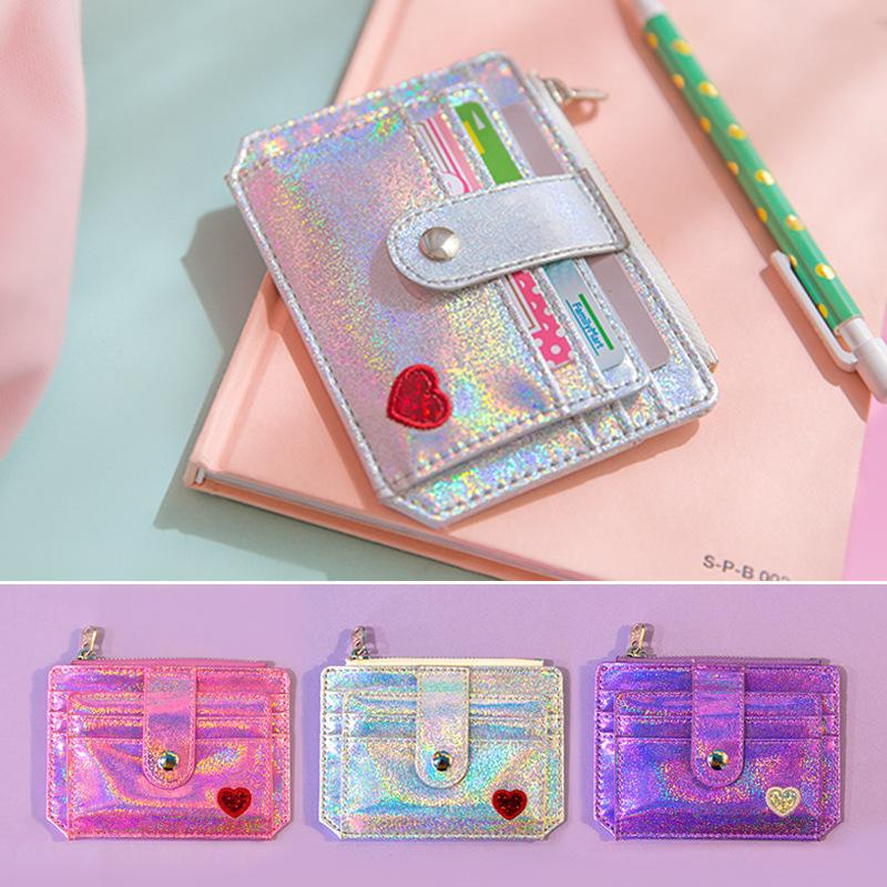 Newest Fashion Girls Glitter Foldable Multi Card Section Coin Purse Student Bus Credit Card Holder Laser Sequin Case Children Mini Handbag