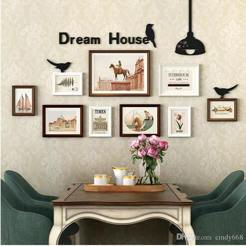 2019 European Pastoral Photo Wall Frame Set Solid Wood Living Room