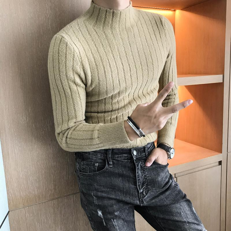 3b656e6e4b4 Turtle Neck Men Winter Sweater For Men Black White Khaki Slim Fit Causual  Knitted Sweater Elegent Warm Hombre Invierno