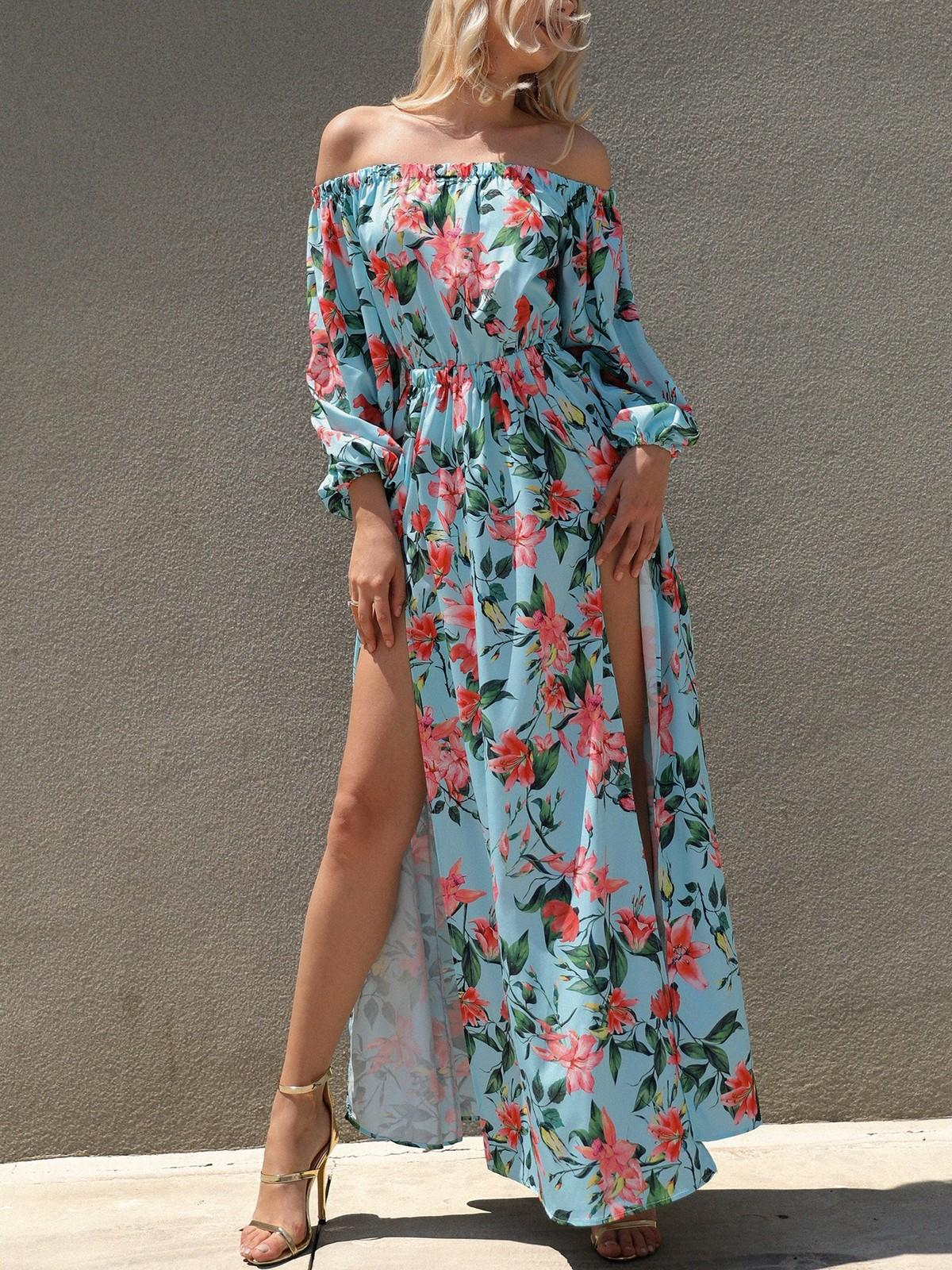 f958da436d Sexy Women Summer Boho Long Maxi Dress Evening Party Print Beach Dresses  Sundress Fashion Female Clothes Teenage Dresses For Sale Long Sleeve Casual  Dresses ...