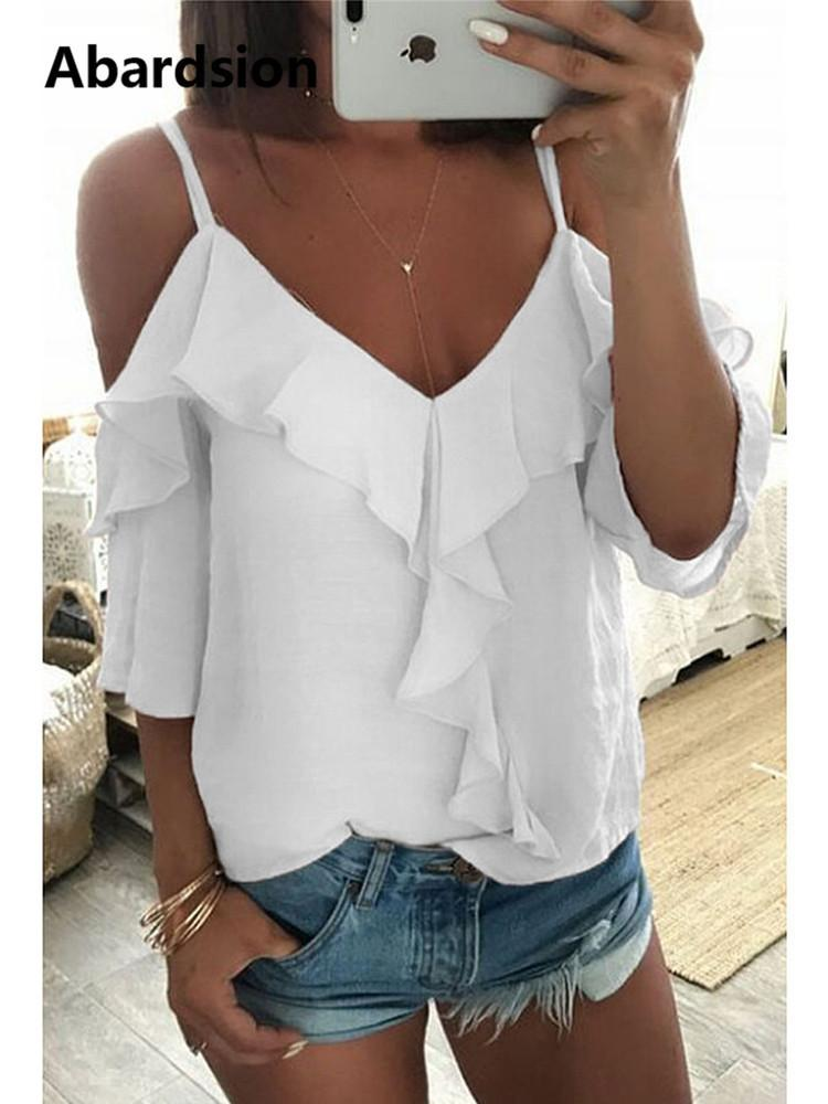 33881e02091397 2019 Abardsion Off Shoulder Top Blouse Women Half Sleeve Spaghetti ...