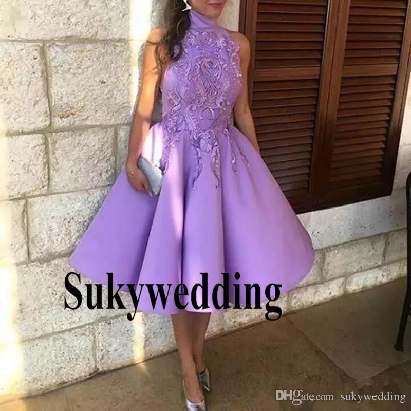 3e46787e90 2019 Light Purple Short Prom Dresses High Neck Arabic Evening Formal Gowns  Knee Length Lace Puffy Lilac Celebrity Evening Party Gowns Wear Formal  Dresses ...