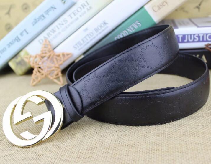 01de5e1124b GUCCI Buckle Genuine Leather Belt with Smooth Metal Designer Belts ...