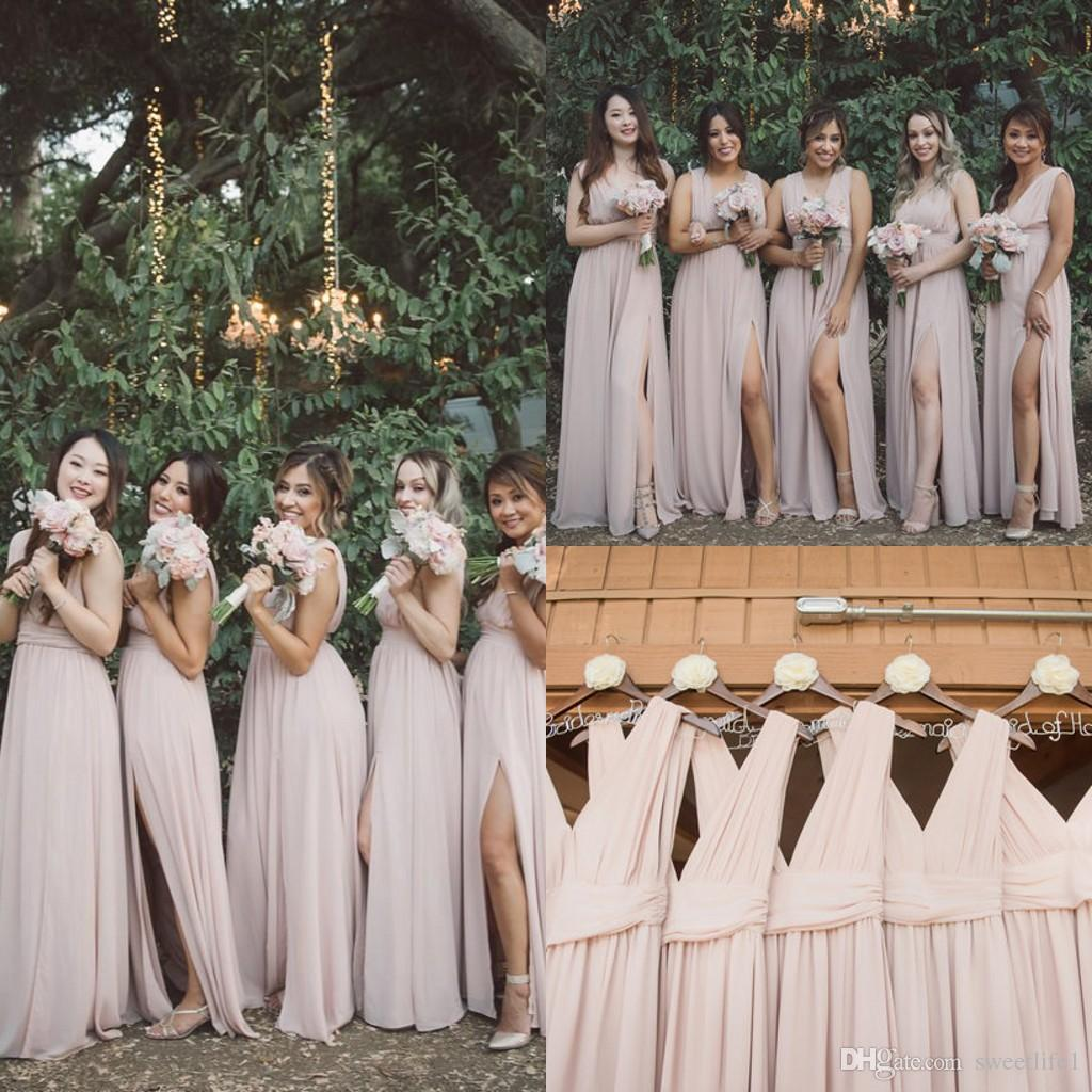 03b734a20c6 2019 Blush Pink V Neck Bridesmaid Dresses Sexy Side Split Flow Chiffon  Garden Rustic Maid Of Honor Wedding Guest Gown Cheap Hot Sale Bridesmaid  Dress ...