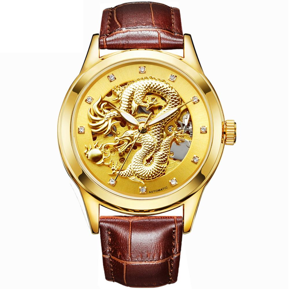 Luxury Automatic Mechanical Wristwatches Dragon Diamond Genuine Leather Stainless Steel Band Men's Watch Waterproof Relojes Gift