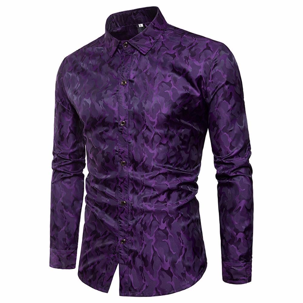 2019 New Men Shirts Without Pocket Mans Clothes Slim Fit Long