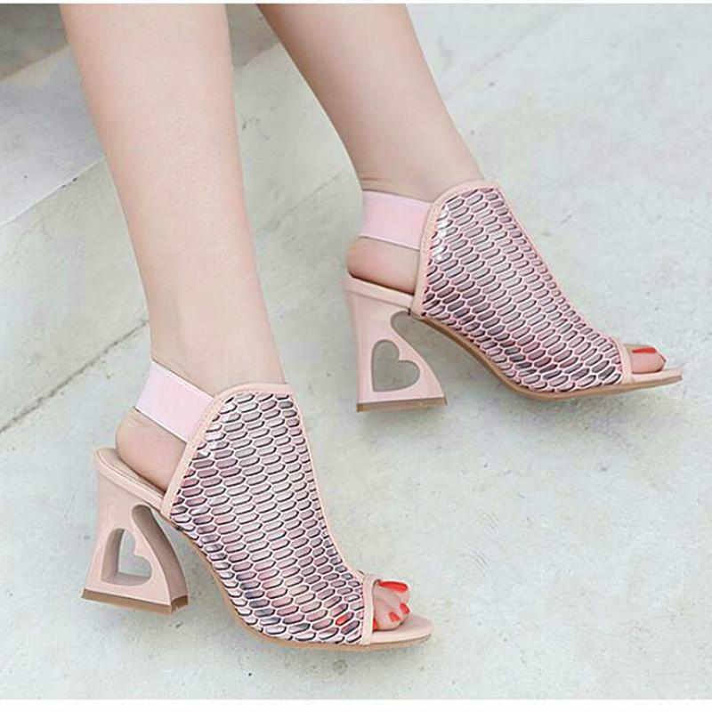 2018 New Style Shoes Woman Fish Mouth Rome Elastic Band High Heeled Shoes  Heteromorphic Heel Heart Shaped Heel Pumps Mens Casual Shoes Penny Loafers  From ... 27551db1dea7