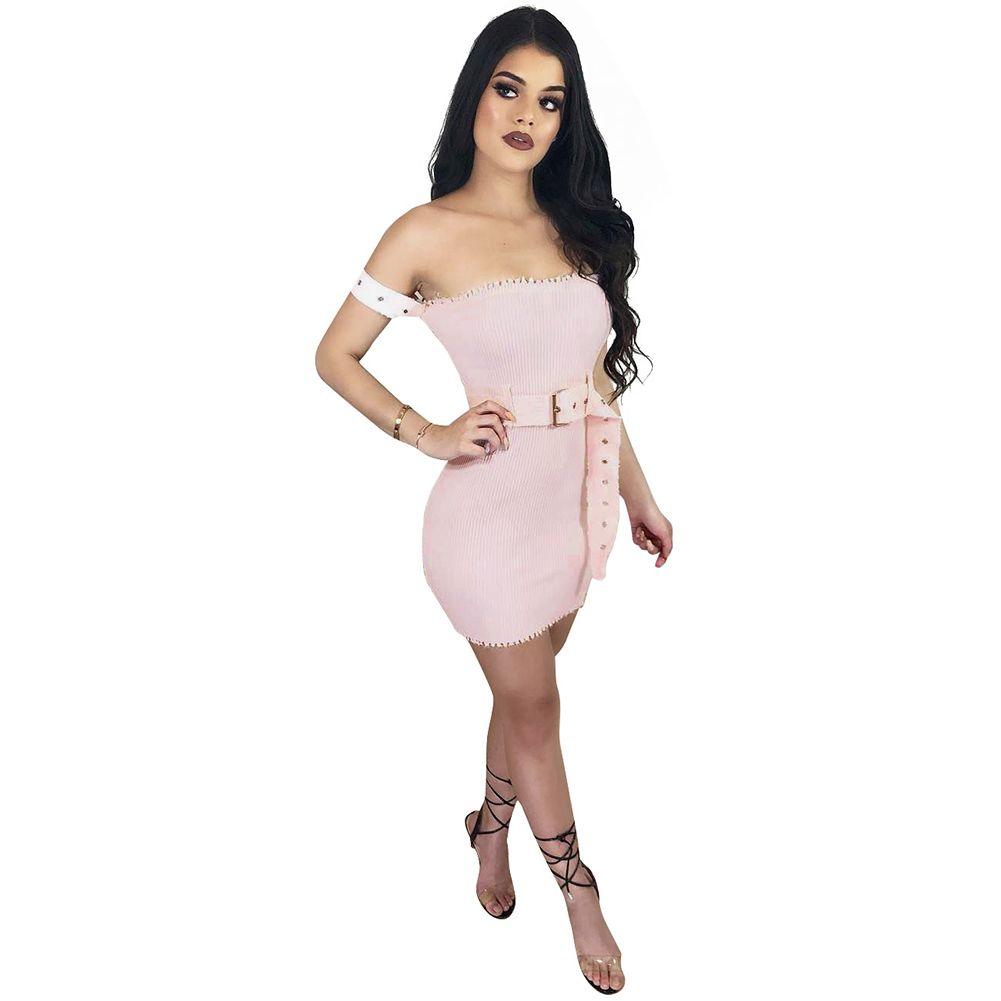 349de4c7ba Compre 2018 Nuevas Mujeres Atractivas Fuera Del Hombro Vestido Tubo Slash  Slash Cuello Acanalado Vestido Delgado Bodycon Con Cinturón Mini Vestido  Rosa ...