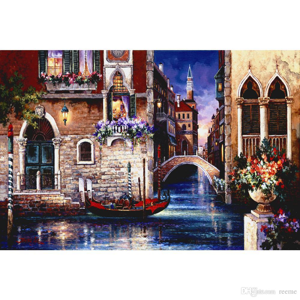 Handmade Oil painting french impressionist art treets of Venice I for living room decor