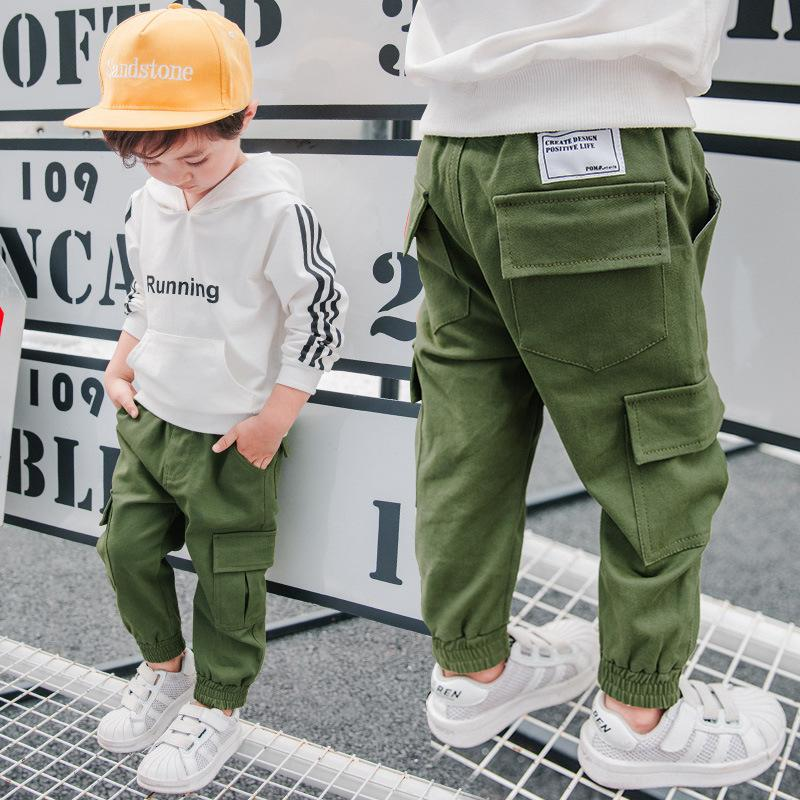 de954a87a4 Brand Children Boy Cargo Pants Spring And Autumn Baby Boy Leisure Cotton  Army Green Trousers Pocket Kids Trousers 3 9 Years Kids In Pants Boys  Embroidered ...