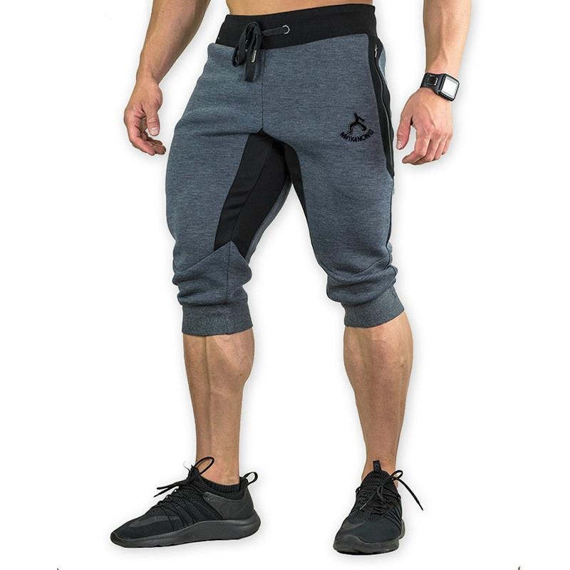 Men's Cotton Casual Shorts 3/4 Jogger Capri Breathable Below Knee Short Pants With Three Pockets J190628