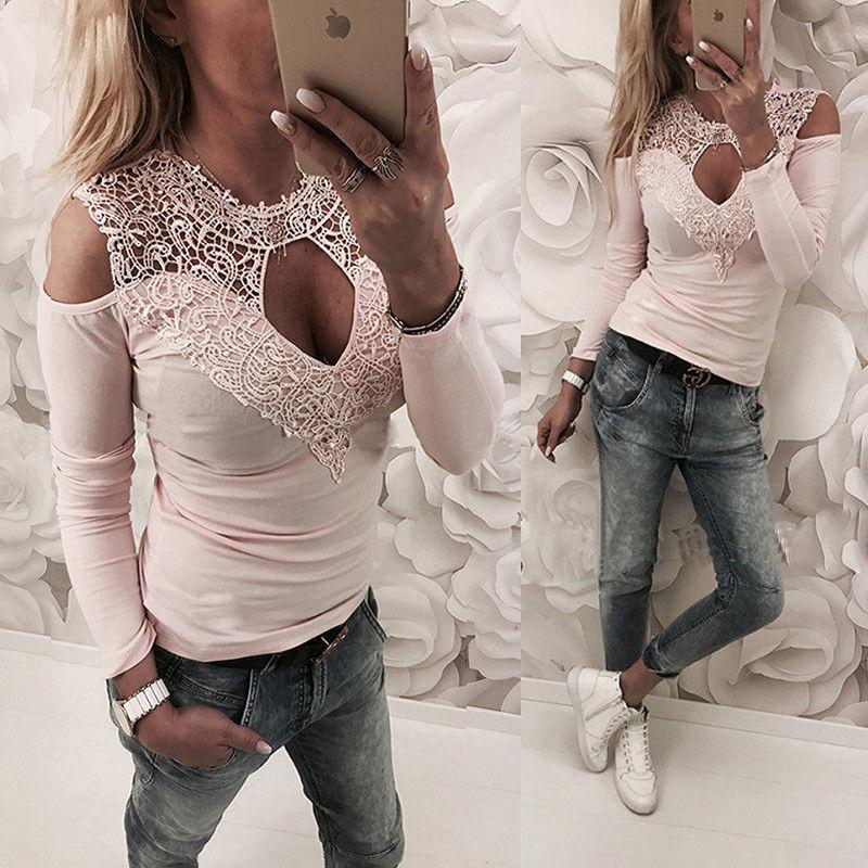 34c2931605f19 2019 Fashion Women T Shirt Spring Casual Lace Cold Shoulder Long Sleeve T Shirts  Women Clothes Tops Sexy Buy Tshirt Political Shirts From Your08