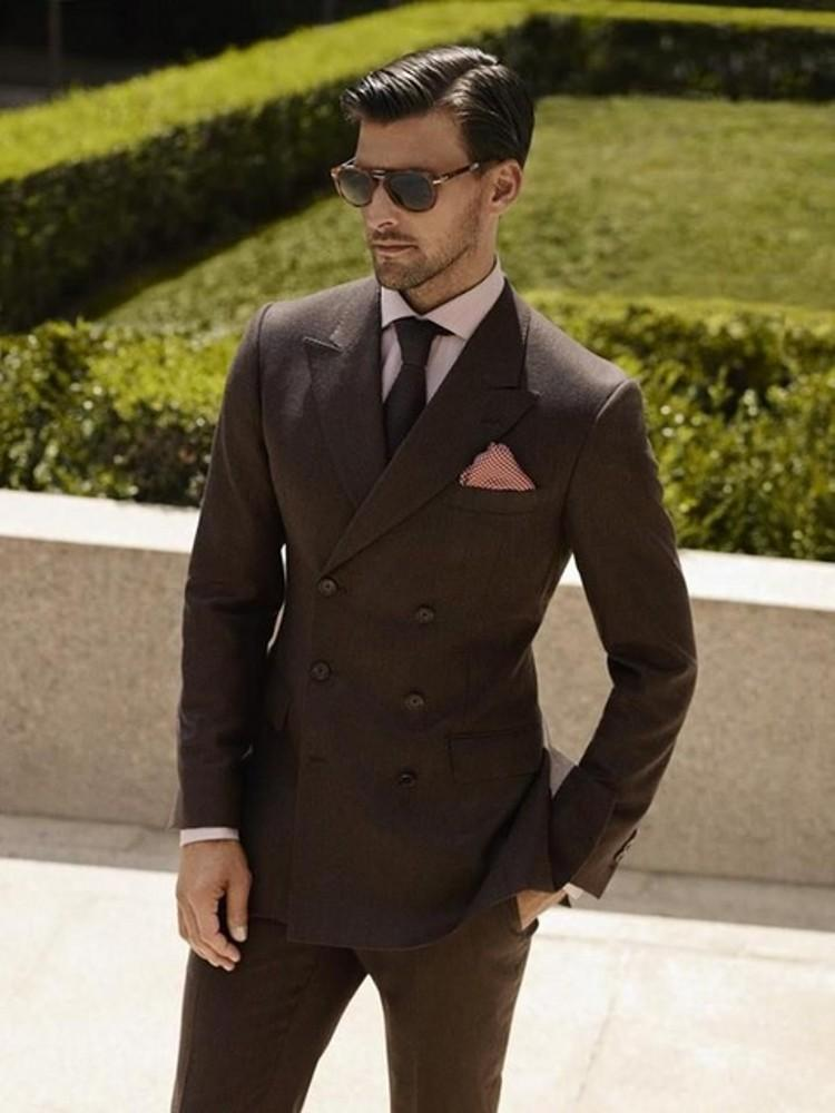 3e32ce732e28 2019 Brown Tweed Men Suit Slim Fit Wedding Suits For Men Double Breasted  Suit Formal Tuxedo Groom Man Prom Blazer Tailor From Sacallion, $176.37    DHgate.