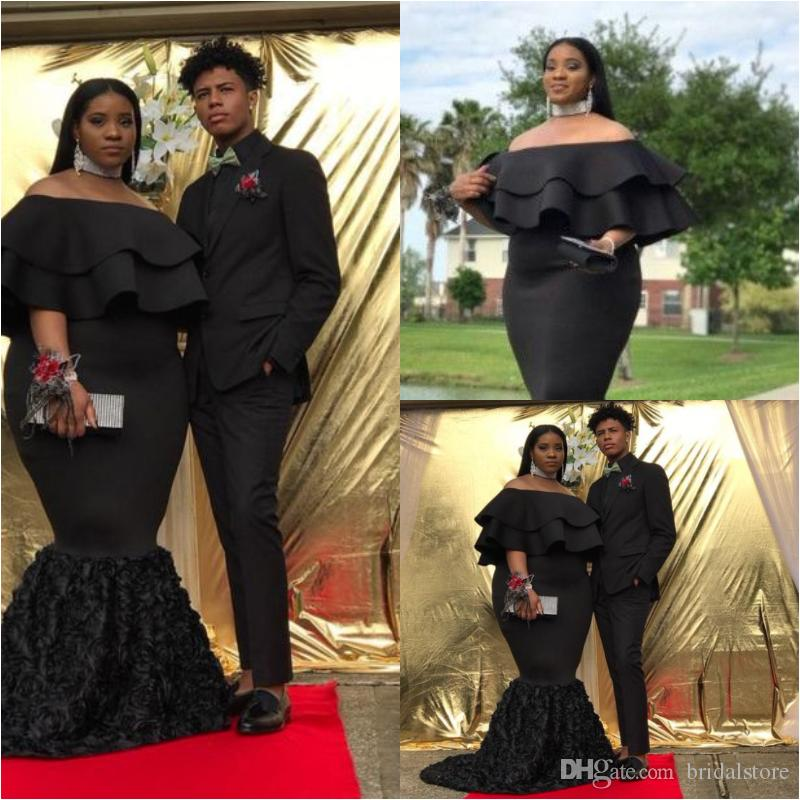 5ebb445120eaa Plus Size Black Mermaid Prom Dresses For Fat Women Elegant Bateau Off The  Shoulders Bottom Rose Floral Formal Evening Gowns With Capes 2019