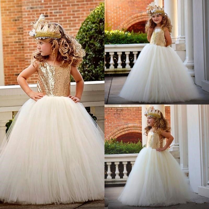 Formale Kinder Kleid Goldene Pailletten Nette Blumenmädchenkleider Für Hochzeit Mädchen Bodenlangen Kind Party Geburtstag Kleid 17flgb462