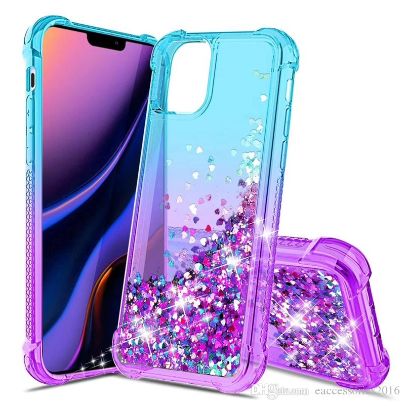 Hot Design New Glitter-Sanding Liquid Cover Phone Case Soft Gradient TPU Bumper Shockproof Shell for iPhone 11 Pro XR XS Max 6S 7 8 Plus
