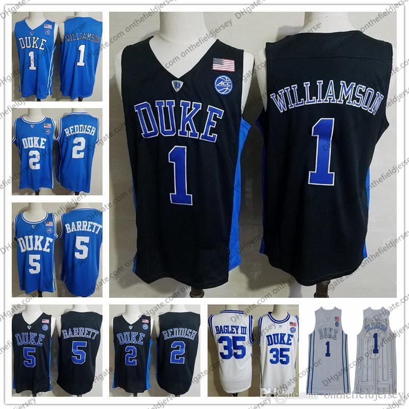 f55d4c6e558e 2019 NCAA Duke Blue Devils  1 Zion Williamson 5 RJ Barrett 2 Reddish 35  Bagley III 2018 Round Collar White Black College Basketball Jersey S 3XL  From ...