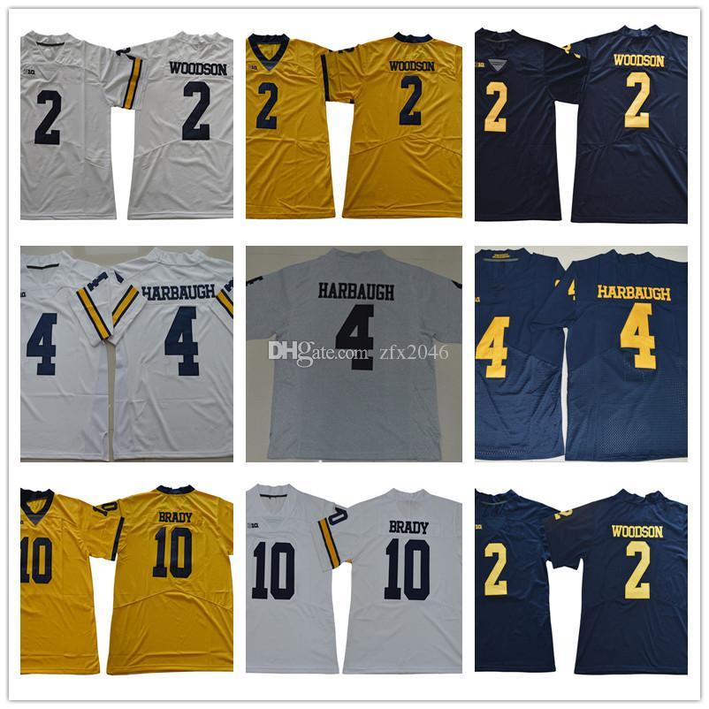 big sale c6956 a3d71 NCAA Men s Michigan Wolverine 2 Charles Woodson 4 Jim Harbaugh 10 Tom Brady  College Football Jerseys White Yellow Blue Navy Stitched lo