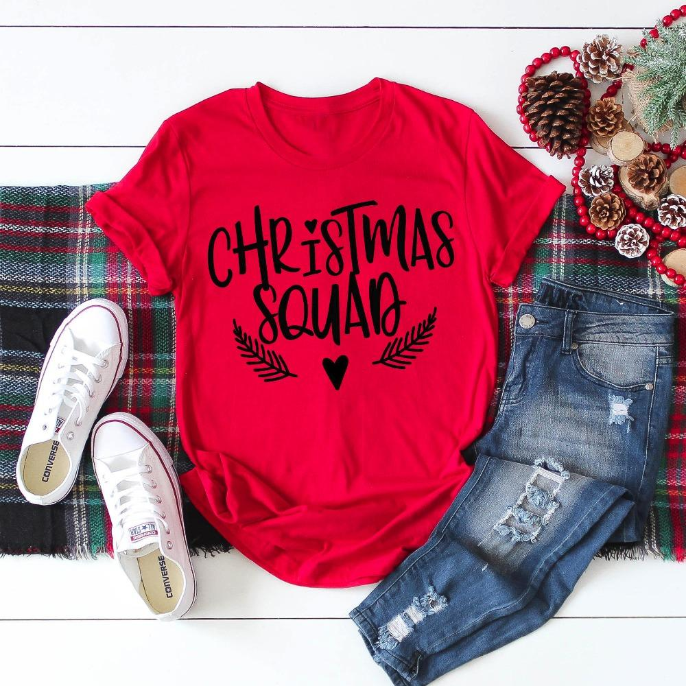 ad53b256b Women'S Tee Christmas Squad Shirt Funny Graphic Gift T Shirt For Women  Family Christmas Tee Group Cotton Casual Grunge Aesthetic Party Tops Long  Sleeve Tee ...