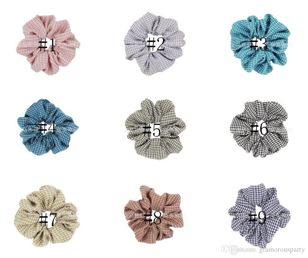 1PC Plaid Design Chiffon Fabric Hair Scrunchy Ponytail Holder Hair ties Gum Bands double colors